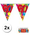 2x vlaggenlijn 60 jaar met gratis sticker